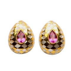 Angela Cummings Mother-of-Pearl Tourmaline Yellow Gold Harlequin Earrings