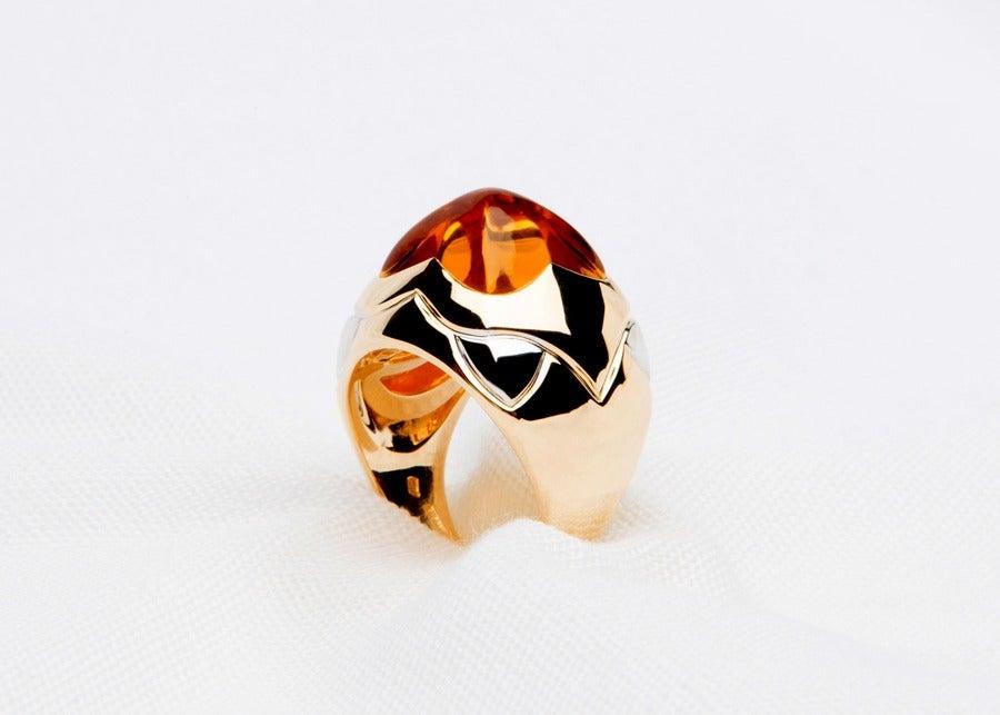 Bulgari Citrine Gold Pyramid Ring 2