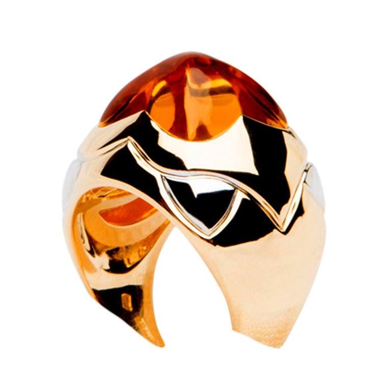Bulgari Citrine Gold Pyramid Ring 1