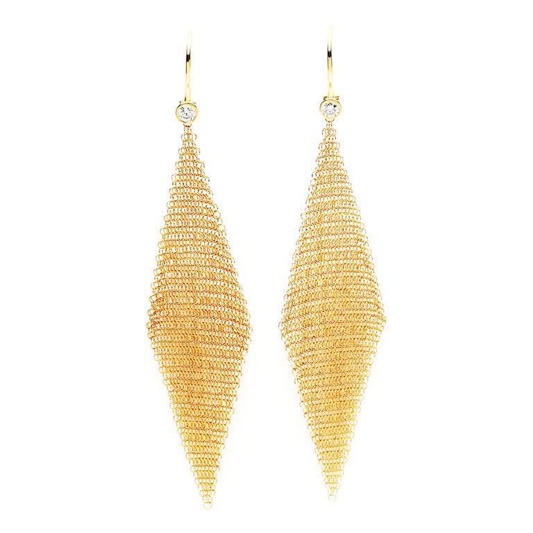 Elsa Peretti Gold Mesh Earrings For