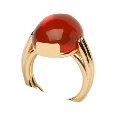 A bold contemporary fire opal ring