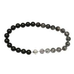 Bold Black Onyx and Rutilated Quartz Bead Necklace