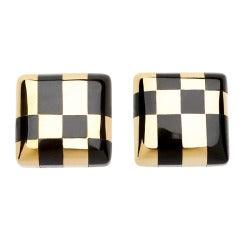Tiffany & Co. Angela Cummings Onyx Gold Checkerboard Earrings