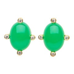 David Precious Gems Chrysophrase Diamond Gold Earrings