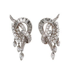 1950s Diamond Gold Earrings