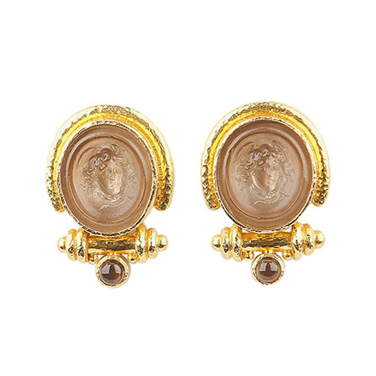 Elizabeth Locke Intaglio Gold Earrings