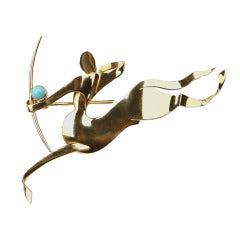 Trabert & Hoeffer Mauboussin Turquoise Gold Centaur Brooch