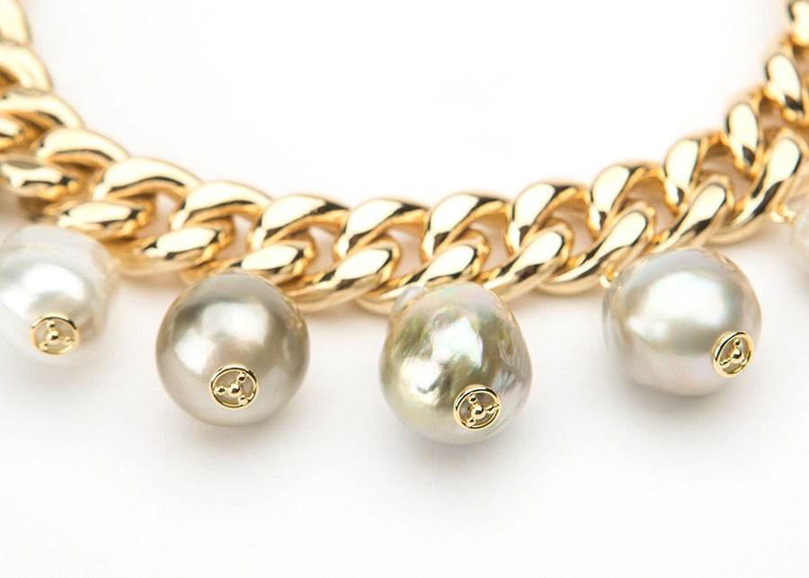 This unique David Precious Gems bracelet features nine large exceptional south sea baroque pearls.  A bold wearable statement piece!
