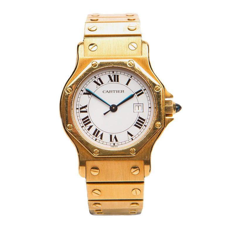 cartier yellow gold santos bracelet at 1stdibs