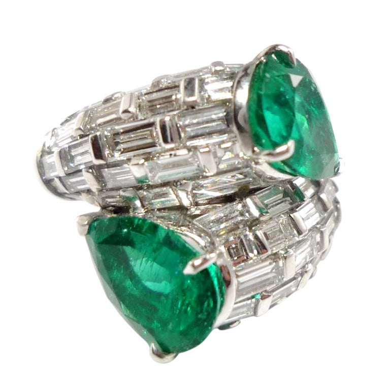 emerald gold bypass ring at 1stdibs