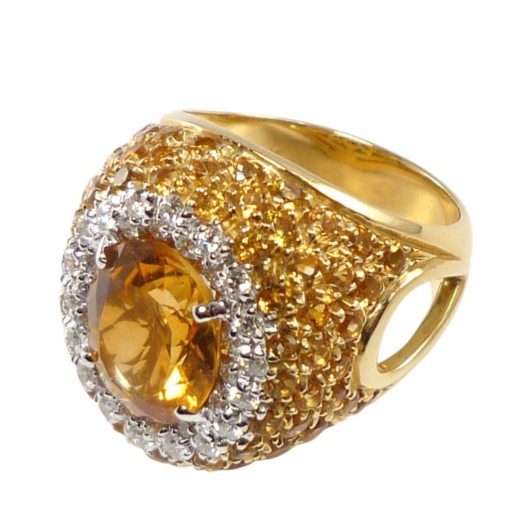 antique cut yellow citrine and yellow pave citrine
