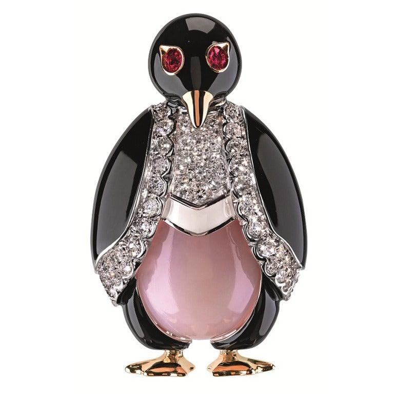 Friedrich Enamel Diamond Lady Penguin Brooch