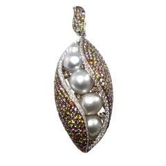 Friedrich Keshi Baroque Pearl Sapphire Gold Pendant