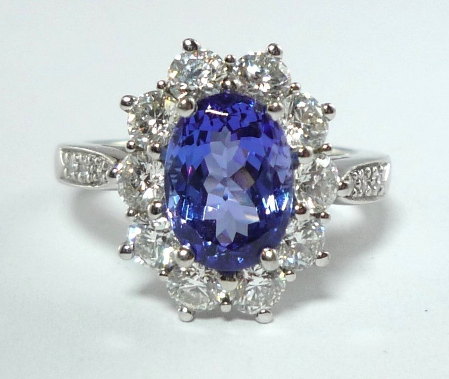 Tiffany And Co. Tanzanite Diamond Platinum Engagement Ring