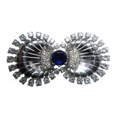 Sapphire Diamond Ring and Brooch Set