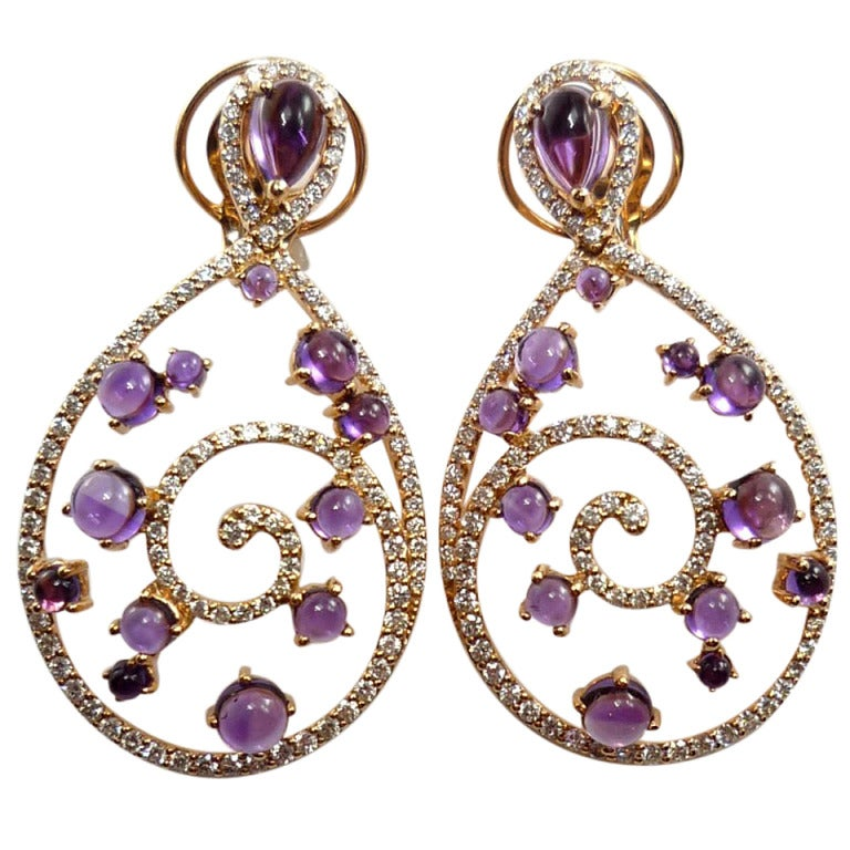 Amethyst Diamond Pink Gold Curve Clip-On Earrings