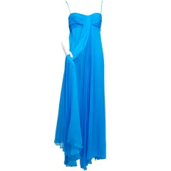 Turquoise Silk Chiffon Gown