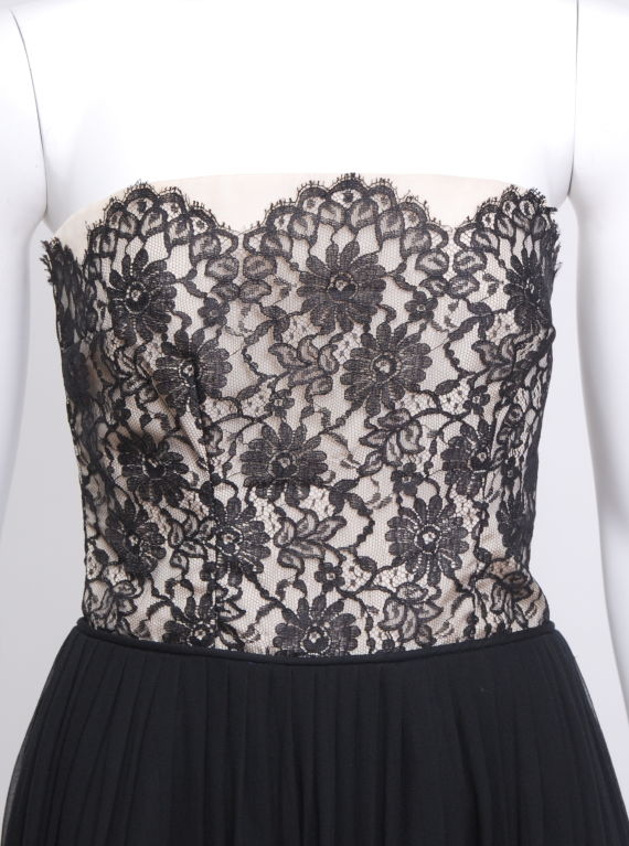 Black Lace and Silk Chiffon Cocktail Dress 2