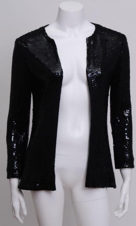 Halston Black Sequin Jacket 2