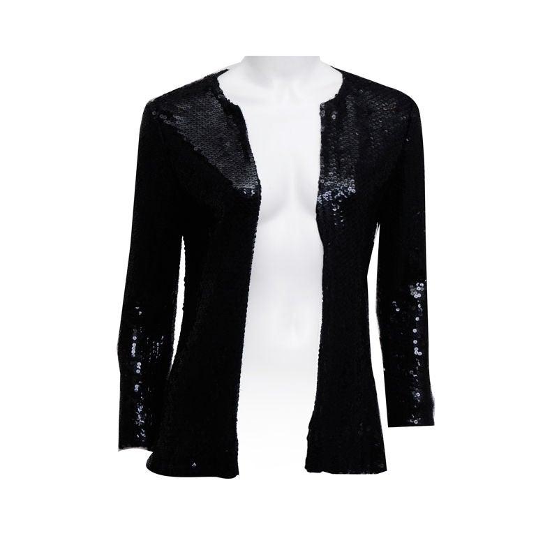 Halston Black Sequin Jacket 1