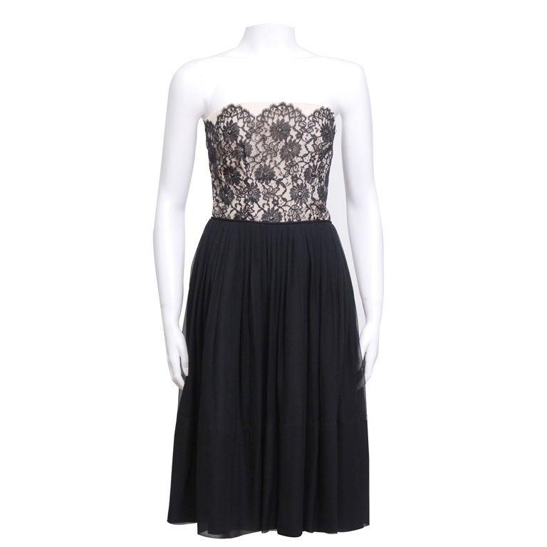 Black Lace and Silk Chiffon Cocktail Dress 1