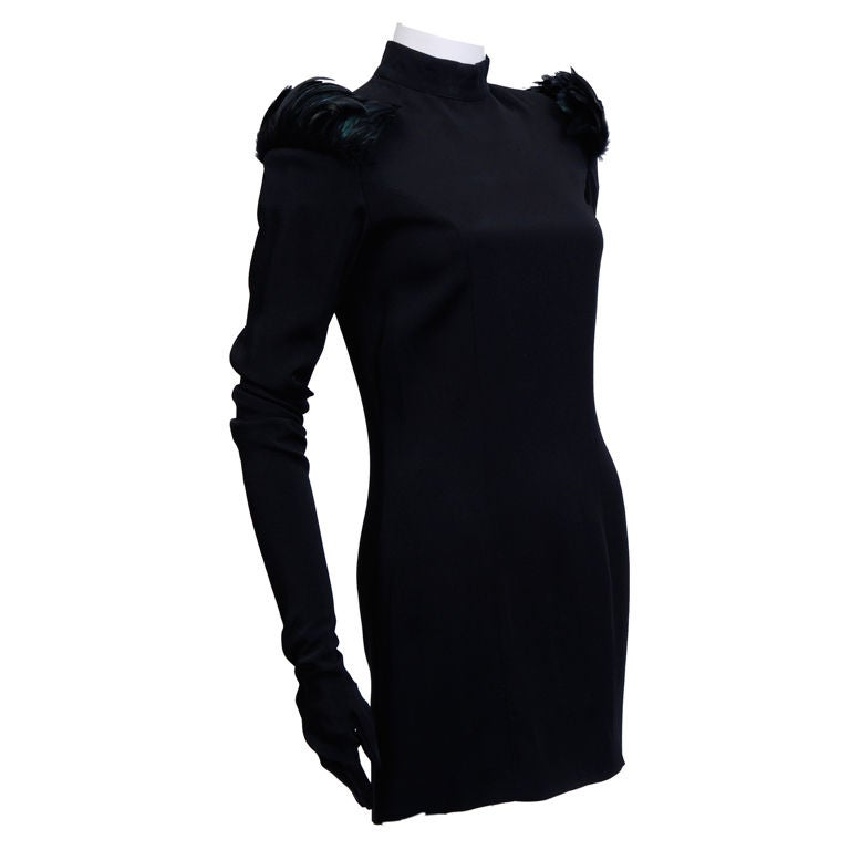 Rifat Ozbek Black Gloved Dress with Feathers For Sale