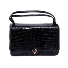 Judith Leiber Black Crocodile Purse