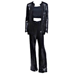 Halston Black Sequin Pant Suit