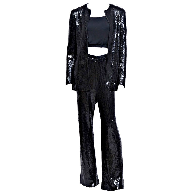 Halston Black Sequin Pant Suit at 1stdibs