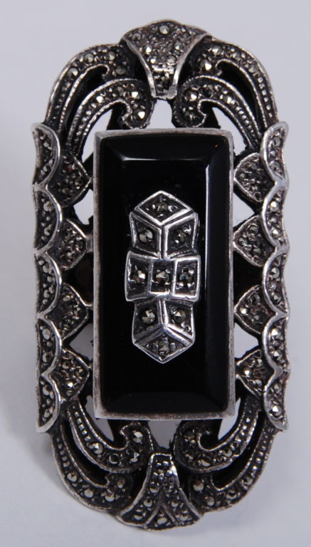 Over-sized Deco Marcasite Ring 2