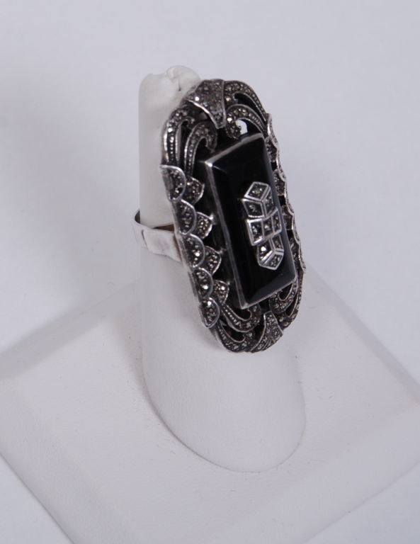 Over-sized Deco Marcasite Ring 3