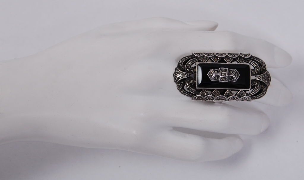 Over-sized Deco Marcasite Ring 4