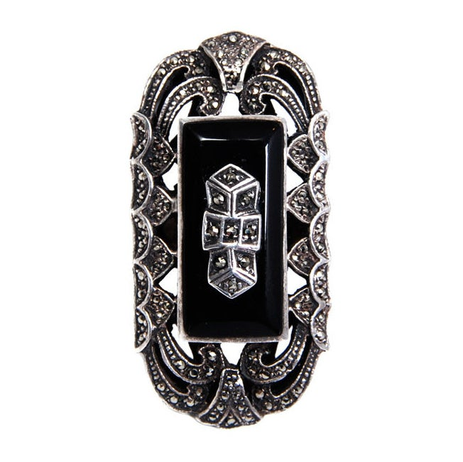 Over-sized Deco Marcasite Ring 1