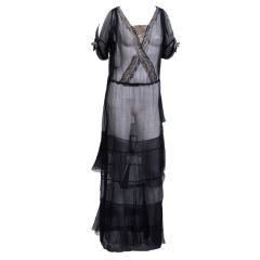 Early 20th Century Silk Chiffon Gown