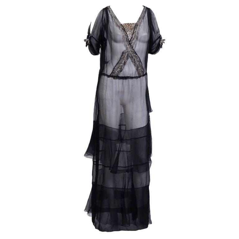 Early 20th Century Silk Chiffon Gown 1