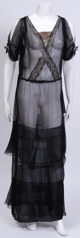 Early 20th Century Silk Chiffon Gown 2