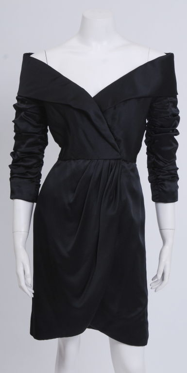 Scassi Boutique Little Black Silk-Satin Dress 2