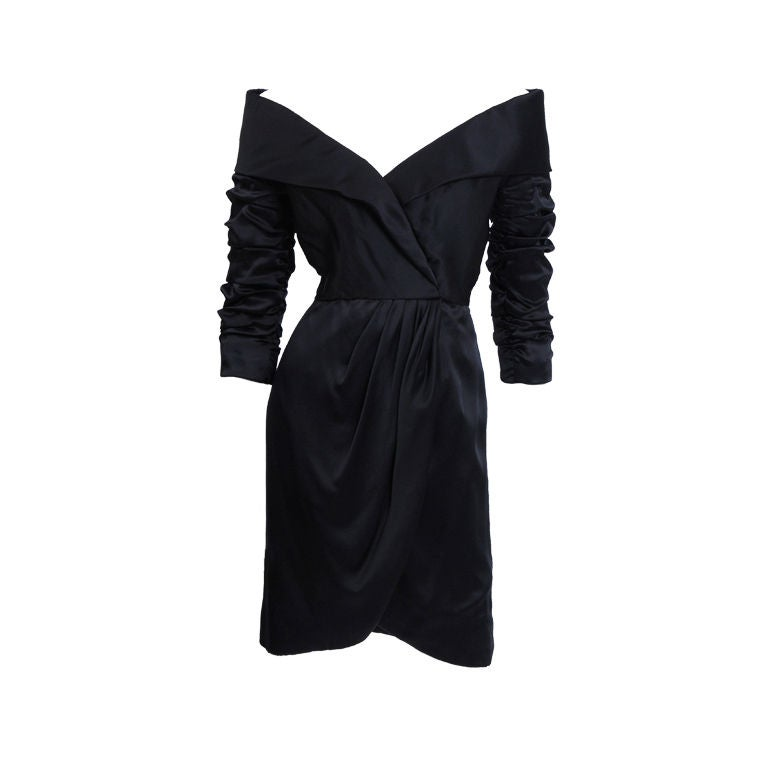 Scassi Boutique Little Black Silk-Satin Dress 1