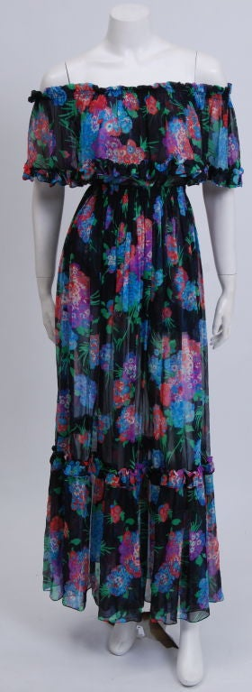 YSL Silk Chiffon Floral Blouse and Skirt image 2