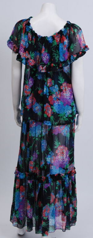 YSL Silk Chiffon Floral Blouse and Skirt image 3
