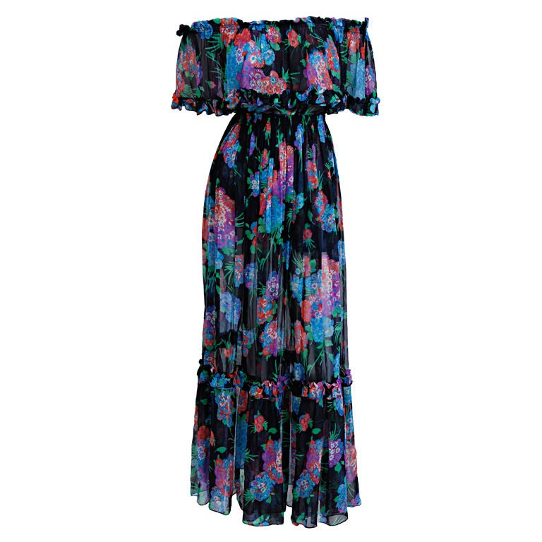 YSL Silk Chiffon Floral Blouse and Skirt