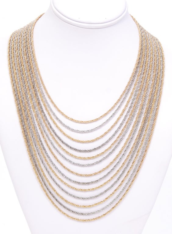 Christian Dior Gold and Silver Rope Bib Chain image 2