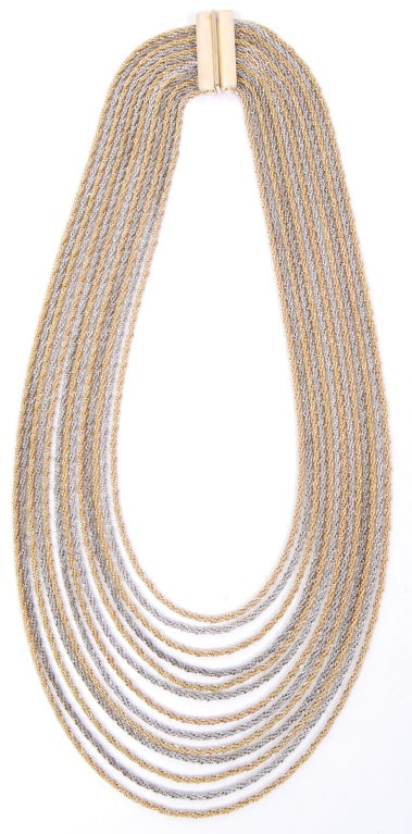 Christian Dior Gold and Silver Rope Bib Chain image 3
