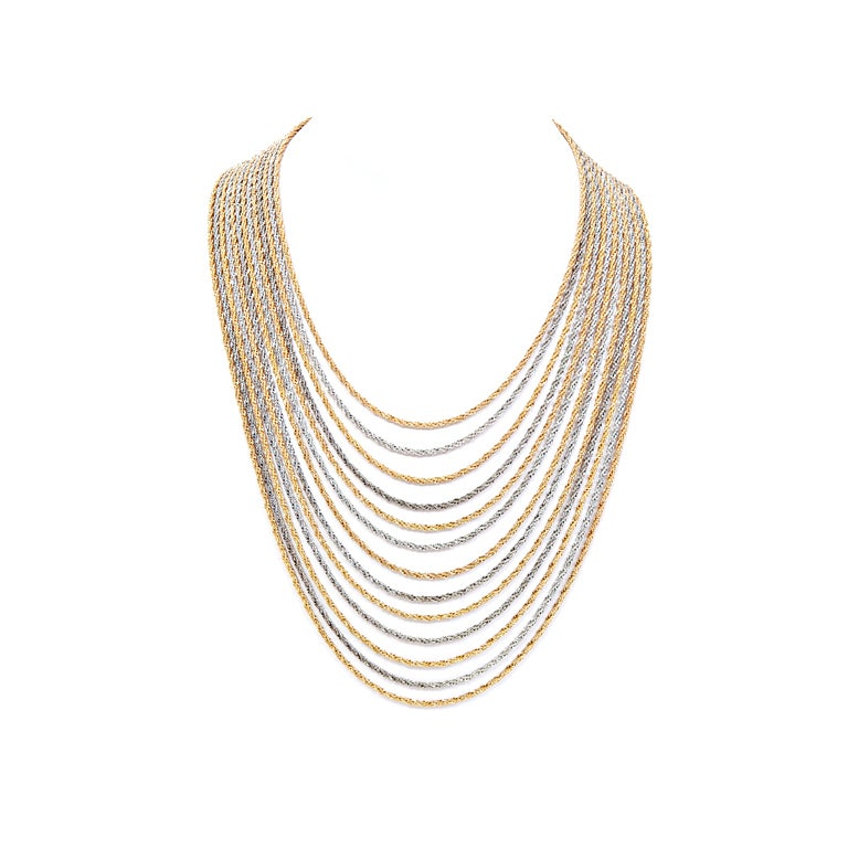 Christian Dior Gold and Silver Rope Bib Chain