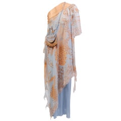 Zandra Rhodes Peach and Blue Silk Gown