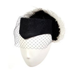Jack McConnell Black and White Feather Wing Hat