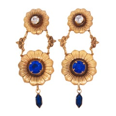 Joseff Floral Crystal Drop Earrings