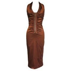 1990s Dolce & Gabbana Bronze Laceup Plunge Halter Dress
