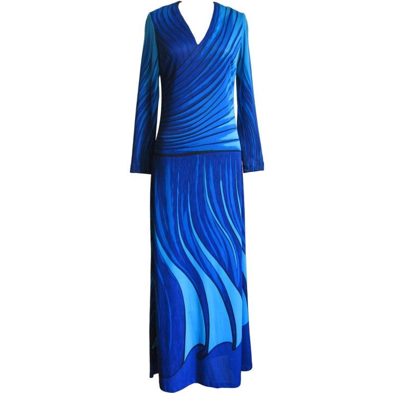 Roberta di Camerino 1970's Trompe L'oeil Maxi Dress