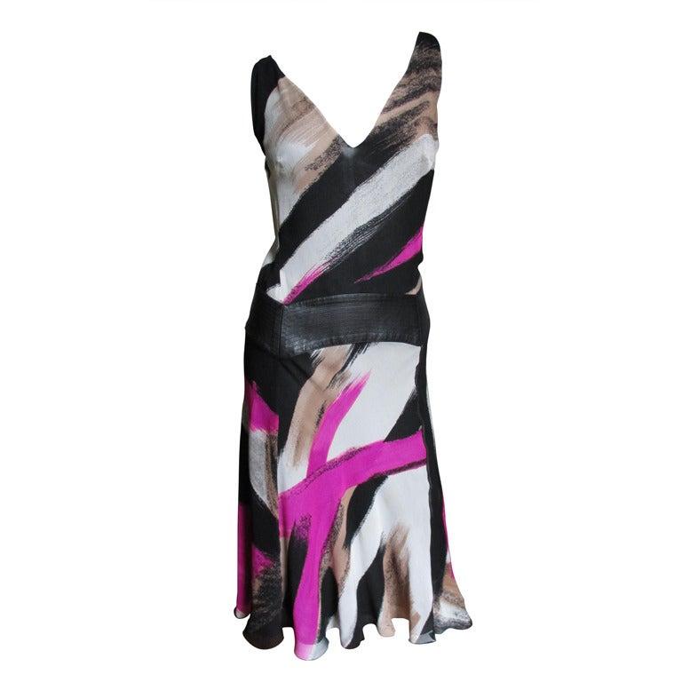 1990s Versace Silk Dress With Leather Waist